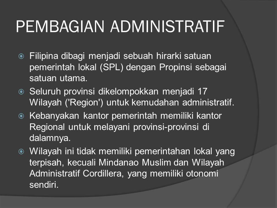 PEMBAGIAN ADMINISTRATIF  Filipina dibagi menjadi sebuah hirarki satuan pemerintah lokal (SPL) dengan Propinsi sebagai satuan utama.  Seluruh provins