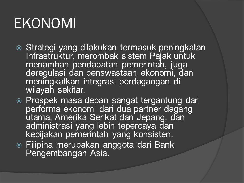 EKONOMI  Strategi yang dilakukan termasuk peningkatan Infrastruktur, merombak sistem Pajak untuk menambah pendapatan pemerintah, juga deregulasi dan
