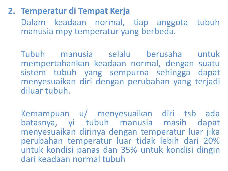 2.Temperatur di Tempat Kerja Dalam keadaan normal, tiap anggota tubuh manusia mpy temperatur yang berbeda. Tubuh manusia selalu berusaha untuk mempert