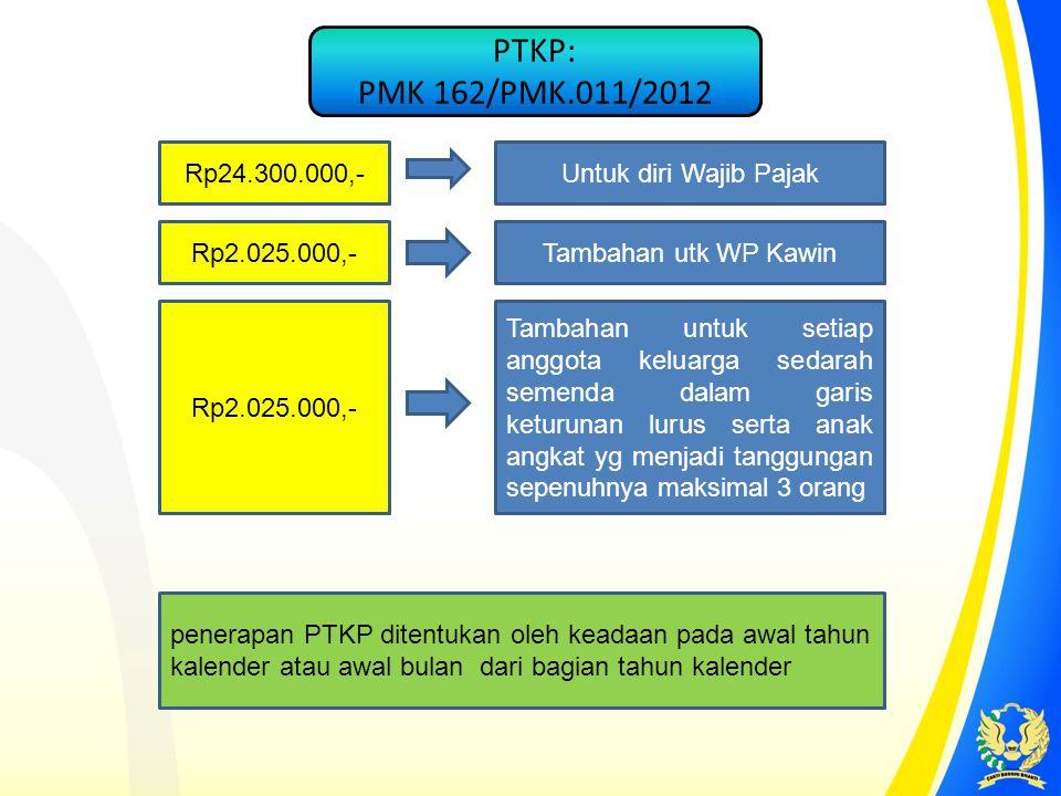 Rp24.300.000,-Untuk diri Wajib Pajak Rp2.025.000,- Tambahan utk WP Kawin Tambahan untuk setiap anggota keluarga sedarah semenda dalam garis keturunan