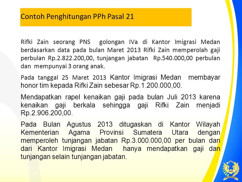 Rifki Zain seorang PNS golongan IVa di Kantor Imigrasi Medan berdasarkan data pada bulan Maret 2013 Rifki Zain memperolah gaji perbulan Rp.2.822.200,0