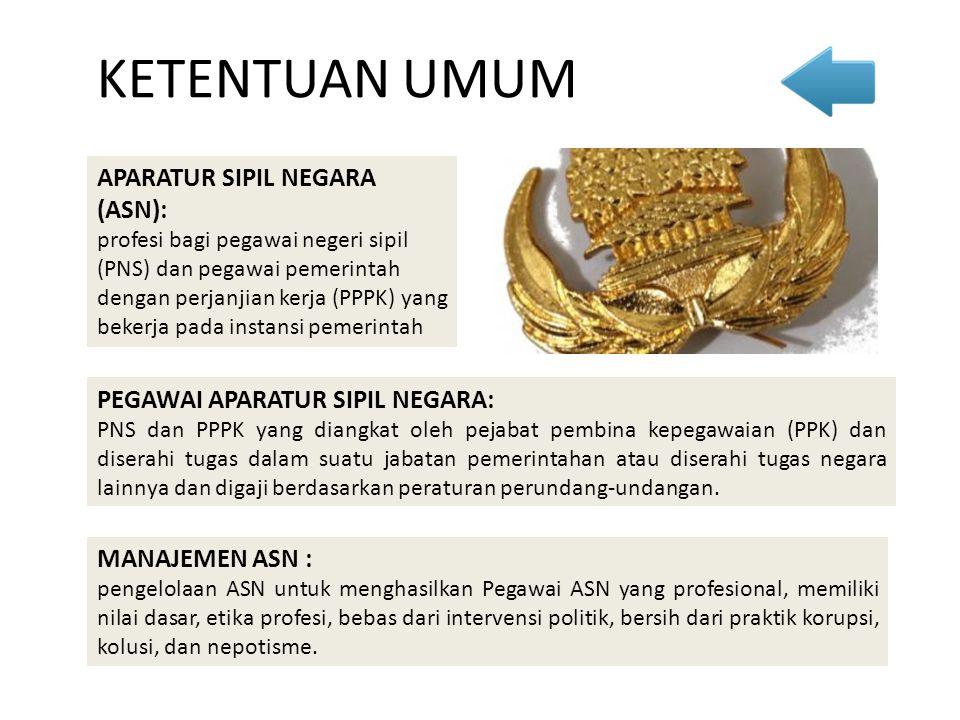 APARATUR SIPIL NEGARA (ASN): profesi bagi pegawai negeri sipil (PNS) dan pegawai pemerintah dengan perjanjian kerja (PPPK) yang bekerja pada instansi