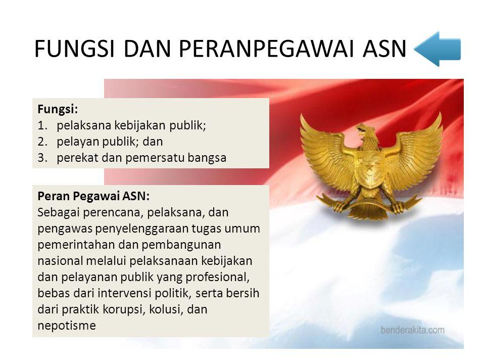 Fungsi: 1.pelaksana kebijakan publik; 2.pelayan publik; dan 3.perekat dan pemersatu bangsa FUNGSI DAN PERANPEGAWAI ASN Peran Pegawai ASN: Sebagai pere