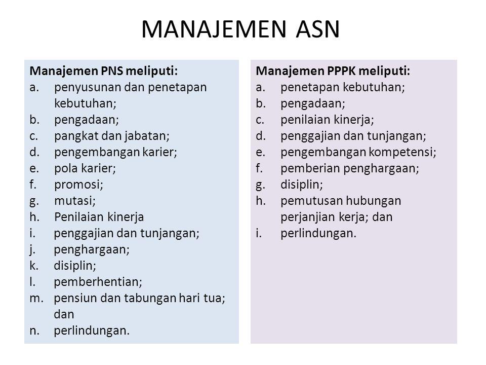 Manajemen PNS meliputi: a.penyusunan dan penetapan kebutuhan; b.pengadaan; c.pangkat dan jabatan; d.pengembangan karier; e.pola karier; f.promosi; g.m