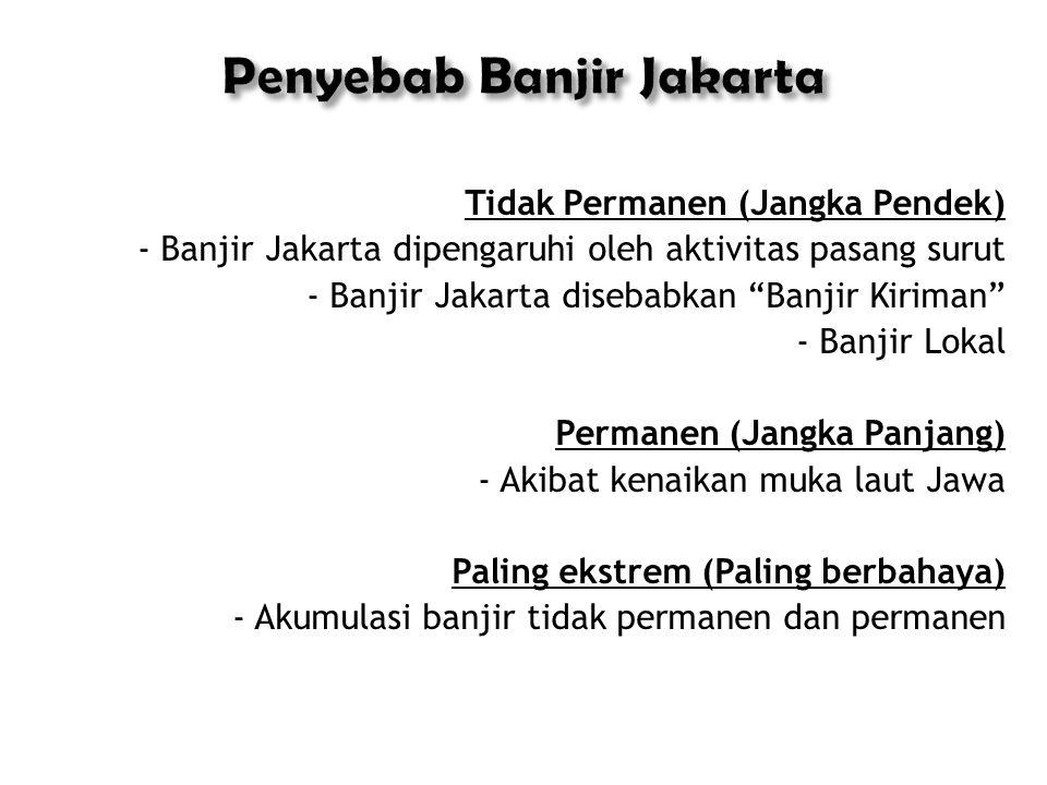 Penyebab Banjir Jakarta Tidak Permanen (Jangka Pendek) - Banjir Jakarta dipengaruhi oleh aktivitas pasang surut - Banjir Jakarta disebabkan Banjir Kiriman - Banjir Lokal Permanen (Jangka Panjang) - Akibat kenaikan muka laut Jawa Paling ekstrem (Paling berbahaya) - Akumulasi banjir tidak permanen dan permanen