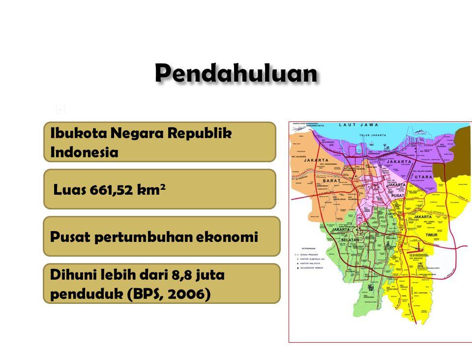  Kota Jakarta: Ibukota Negara Republik Indonesia Luas 661,52 km 2 Pusat pertumbuhan ekonomi Dihuni lebih dari 8,8 juta penduduk (BPS, 2006)