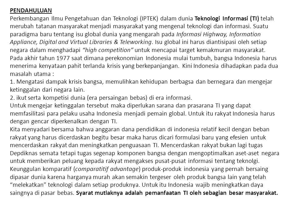 PENDAHULUAN Perkembangan Ilmu Pengetahuan dan Teknologi (IPTEK) dalam dunia Teknologi Informasi (TI) telah merubah tatanan masyarakat menjadi masyarakat yang mengenal teknologi dan informasi.