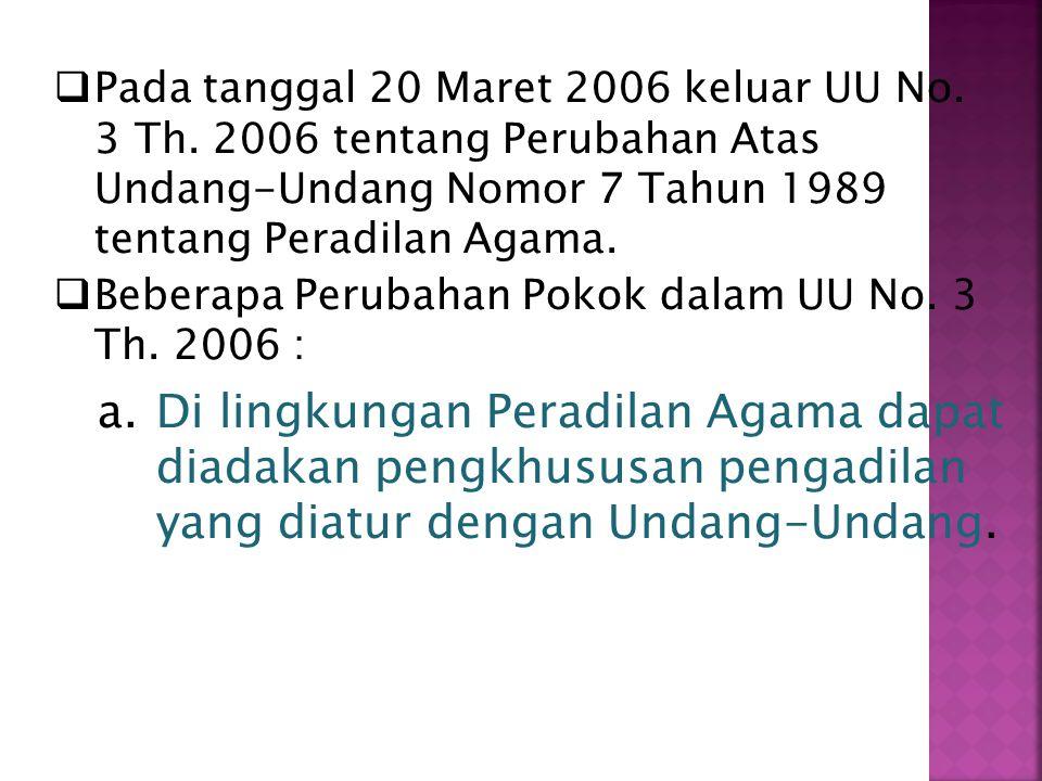  Pada tanggal 20 Maret 2006 keluar UU No.3 Th.