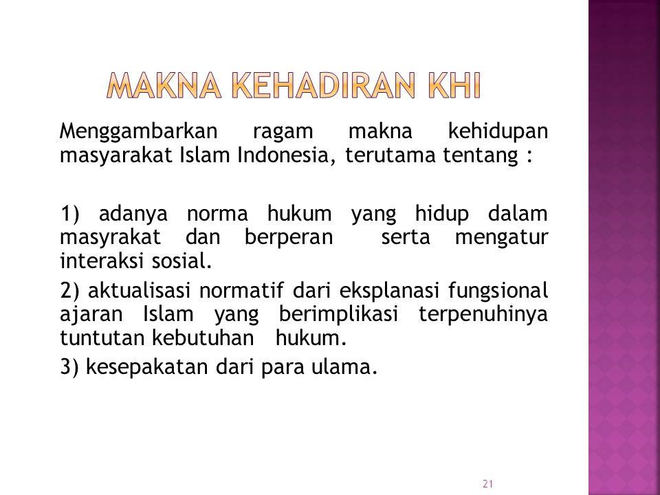 21 Menggambarkan ragam makna kehidupan masyarakat Islam Indonesia, terutama tentang : 1) adanya norma hukum yang hidup dalam masyrakat dan berperan serta mengatur interaksi sosial.