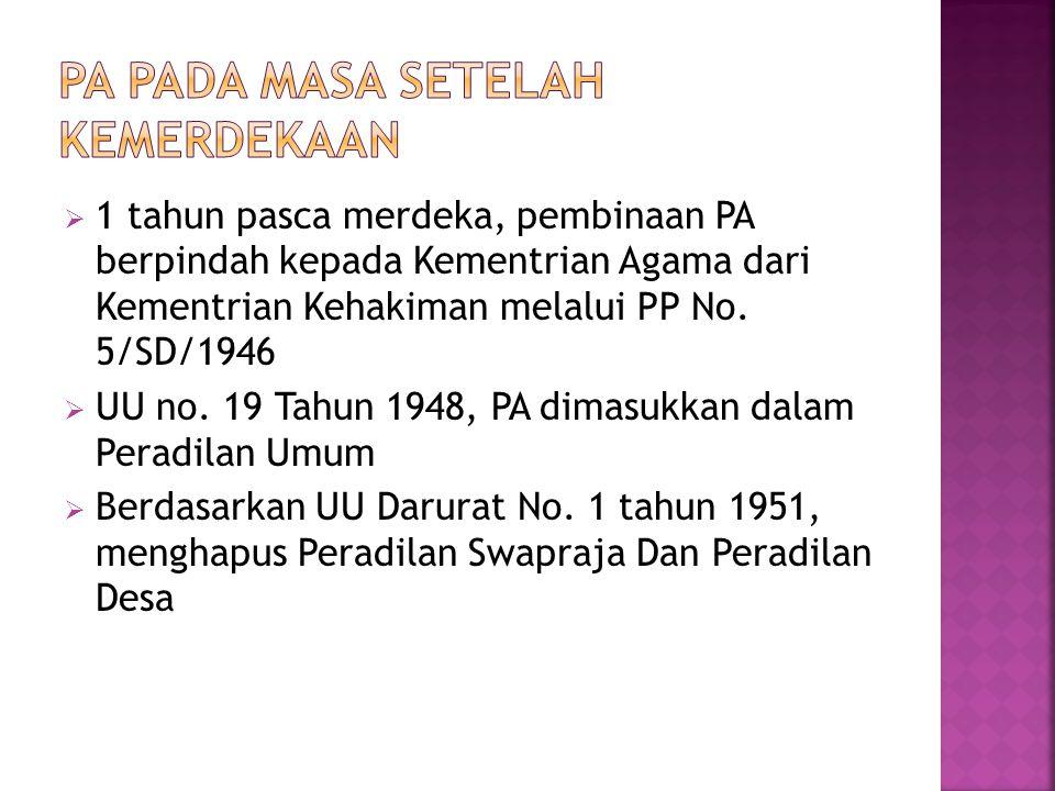  1 tahun pasca merdeka, pembinaan PA berpindah kepada Kementrian Agama dari Kementrian Kehakiman melalui PP No.