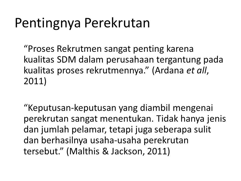 Faktor-faktor Perencanaan Rekrutmen a.Mutu Karyawan yang direkrut b.Jumlah Karyawan yang diperlukan c.Biaya d.Perencanaan dan keputusan strategis tentang perekrutan e.Fleksibility f.Pertimbangan-pertimbangan hukum