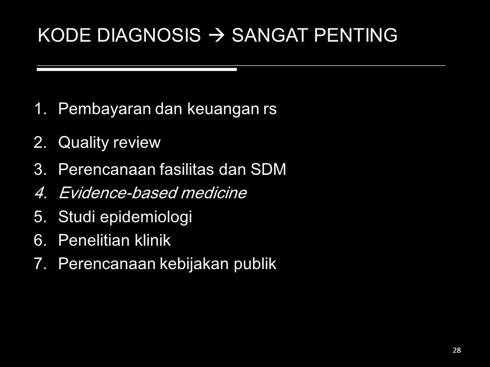 KODE DIAGNOSIS  SANGAT PENTING 1.Pembayaran dan keuangan rs 2.Quality review 3.Perencanaan fasilitas dan SDM 4.Evidence-based medicine 5.Studi epidem