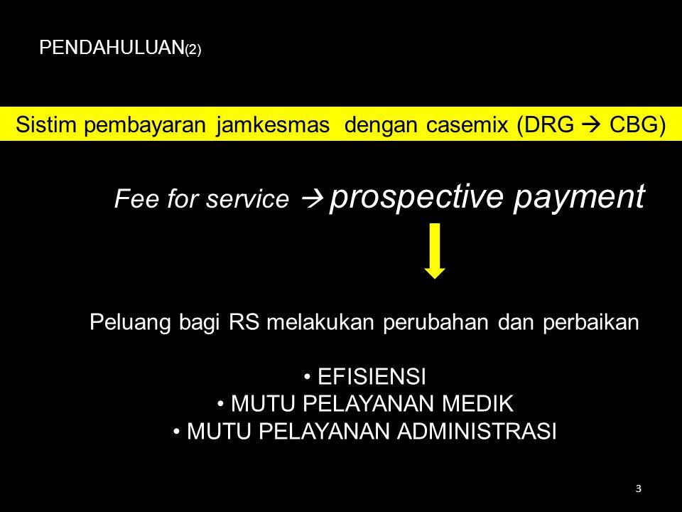 Fee for service  prospective payment PENDAHULUAN (2) Peluang bagi RS melakukan perubahan dan perbaikan • EFISIENSI • MUTU PELAYANAN MEDIK • MUTU PELAYANAN ADMINISTRASI Sistim pembayaran jamkesmas dengan casemix (DRG  CBG) 3