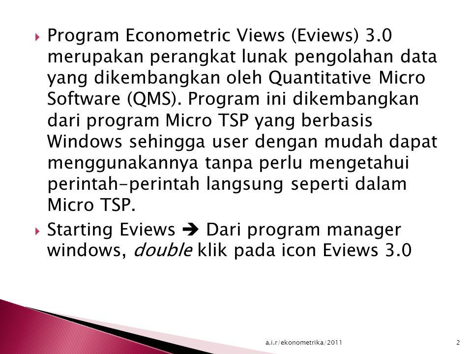  Program Econometric Views (Eviews) 3.0 merupakan perangkat lunak pengolahan data yang dikembangkan oleh Quantitative Micro Software (QMS).