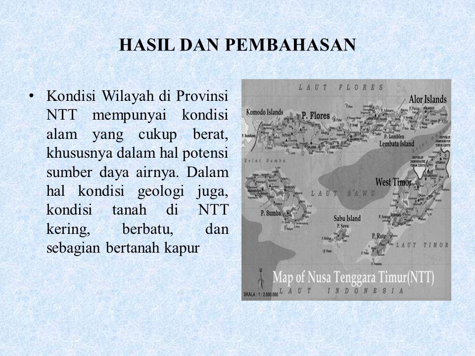 HASIL DAN PEMBAHASAN •Kondisi Wilayah di Provinsi NTT mempunyai kondisi alam yang cukup berat, khususnya dalam hal potensi sumber daya airnya.