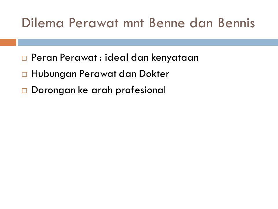 Dilema Perawat mnt Benne dan Bennis  Peran Perawat : ideal dan kenyataan  Hubungan Perawat dan Dokter  Dorongan ke arah profesional