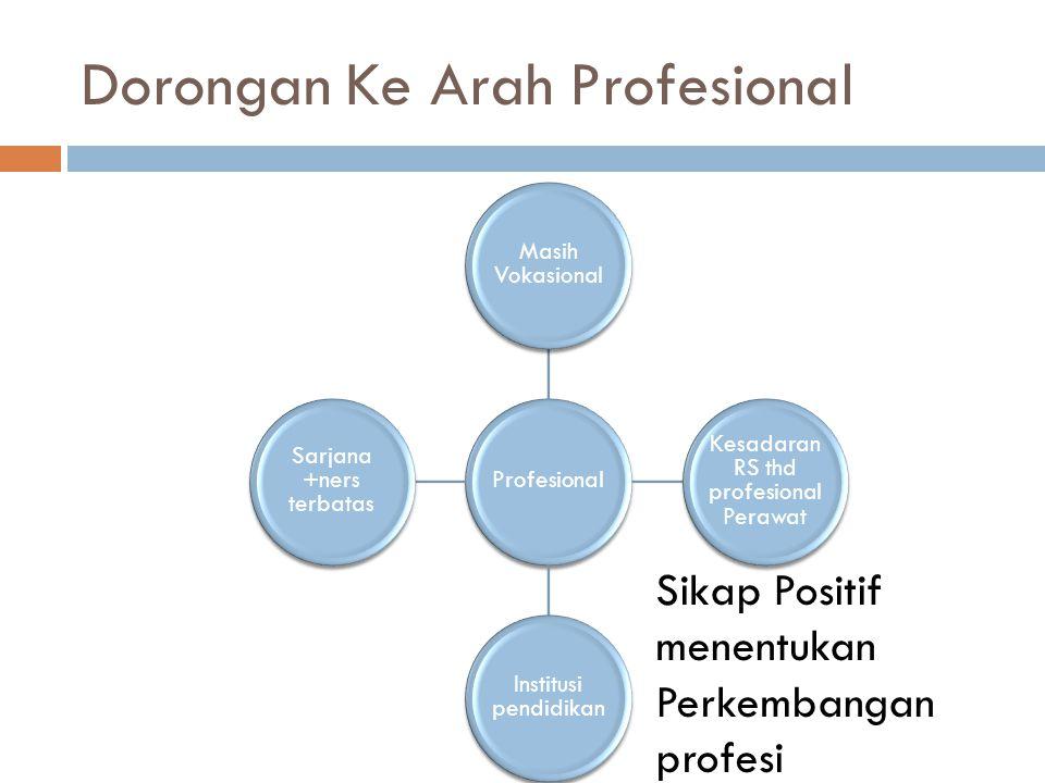 Dorongan Ke Arah Profesional Profesional Masih Vokasional Kesadaran RS thd profesional Perawat Institusi pendidikan Sarjana +ners terbatas Sikap Posit