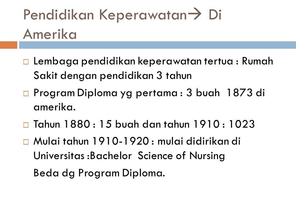 Pendidikan Keperawatan  Di Amerika  Lembaga pendidikan keperawatan tertua : Rumah Sakit dengan pendidikan 3 tahun  Program Diploma yg pertama : 3 b