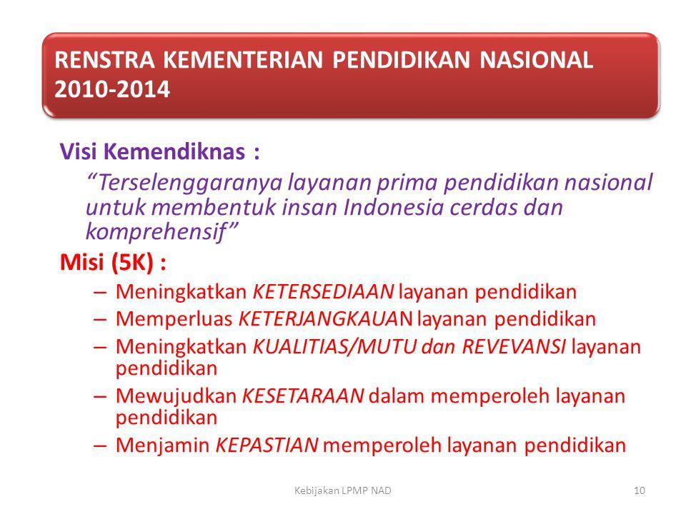 """Visi Kemendiknas : """"Terselenggaranya layanan prima pendidikan nasional untuk membentuk insan Indonesia cerdas dan komprehensif"""" Misi (5K) : – Meningka"""