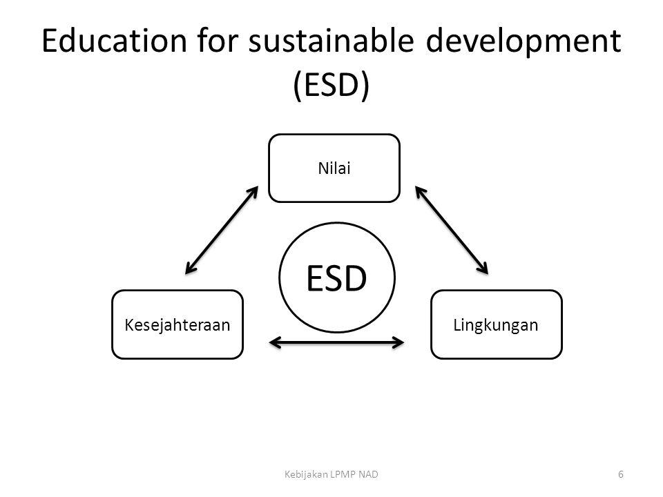 Education for sustainable development (ESD) Kebijakan LPMP NAD6 Nilai KesejahteraanLingkungan ESD