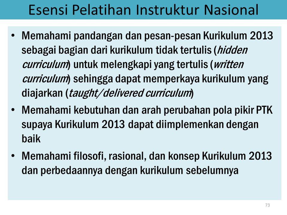 Esensi Pelatihan Instruktur Nasional • Memahami pandangan dan pesan-pesan Kurikulum 2013 sebagai bagian dari kurikulum tidak tertulis (hidden curricul