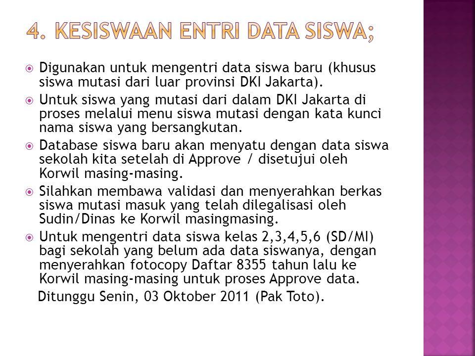  Digunakan untuk mengentri data siswa baru (khusus siswa mutasi dari luar provinsi DKI Jakarta).