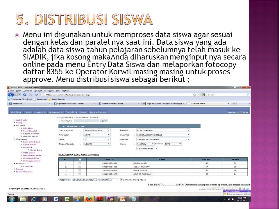 Menu ini digunakan untuk memproses data siswa agar sesuai dengan kelas dan paralel nya saat ini.