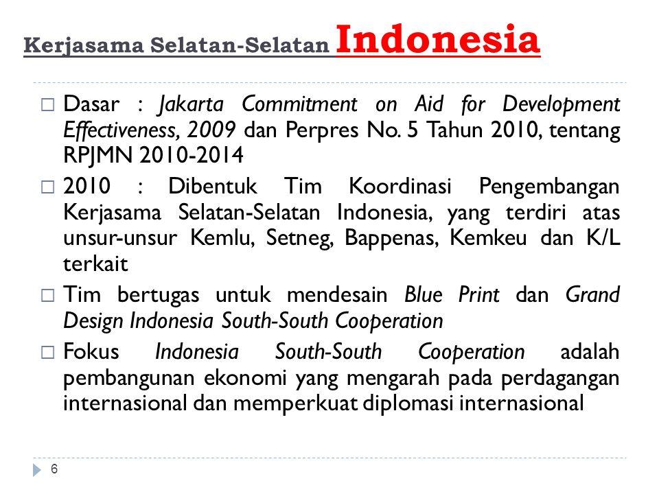 GRAND DESIGN dan BLUE PRINT Kerjasama Selatan- Selatan Indonesia 7 Stronger Coordination Within Revitalized Institutional Framework Tahap 1: 2011-2014Tahap 2: 2015-2019Tahap 3: 2020-2025 Stronger Partnership within Innovative and Inclusive South-South Cooperation New Emerging Partner in Innovative South-South and Triangular Cooperation for Development