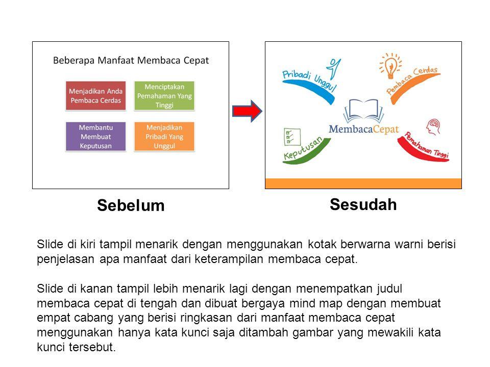 Sebelum Sesudah Slide di kiri tampil menarik dengan menggunakan kotak berwarna warni berisi penjelasan apa manfaat dari keterampilan membaca cepat. Sl