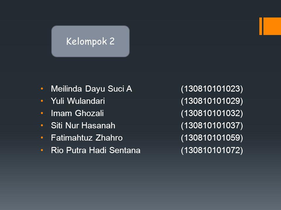•Meilinda Dayu Suci A (130810101023) •Yuli Wulandari(130810101029) •Imam Ghozali(130810101032) •Siti Nur Hasanah (130810101037) •Fatimahtuz Zhahro(130810101059) •Rio Putra Hadi Sentana(130810101072) Kelompok 2