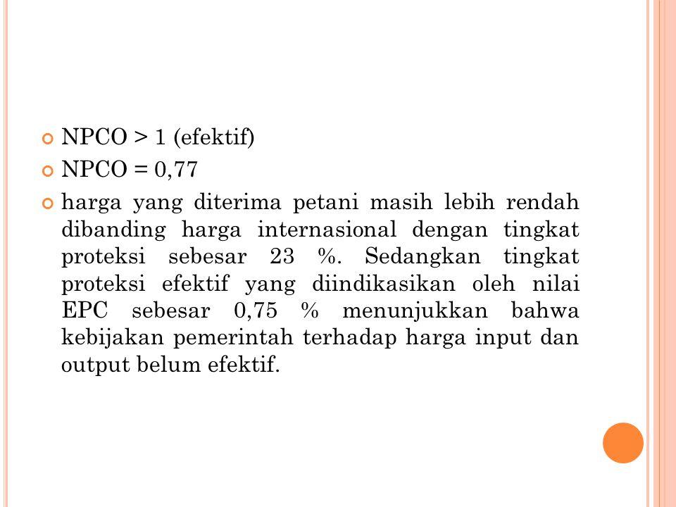 NPCO > 1 (efektif) NPCO = 0,77 harga yang diterima petani masih lebih rendah dibanding harga internasional dengan tingkat proteksi sebesar 23 %.