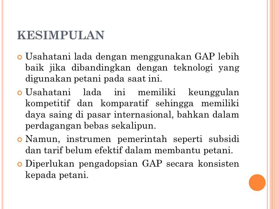 KESIMPULAN Usahatani lada dengan menggunakan GAP lebih baik jika dibandingkan dengan teknologi yang digunakan petani pada saat ini.