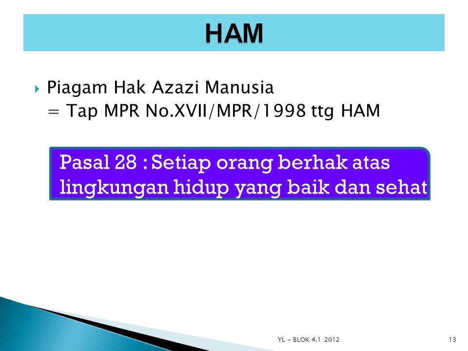  Piagam Hak Azazi Manusia = Tap MPR No.XVII/MPR/1998 ttg HAM Pasal 28 : Setiap orang berhak atas lingkungan hidup yang baik dan sehat YL - BLOK 4.1 2
