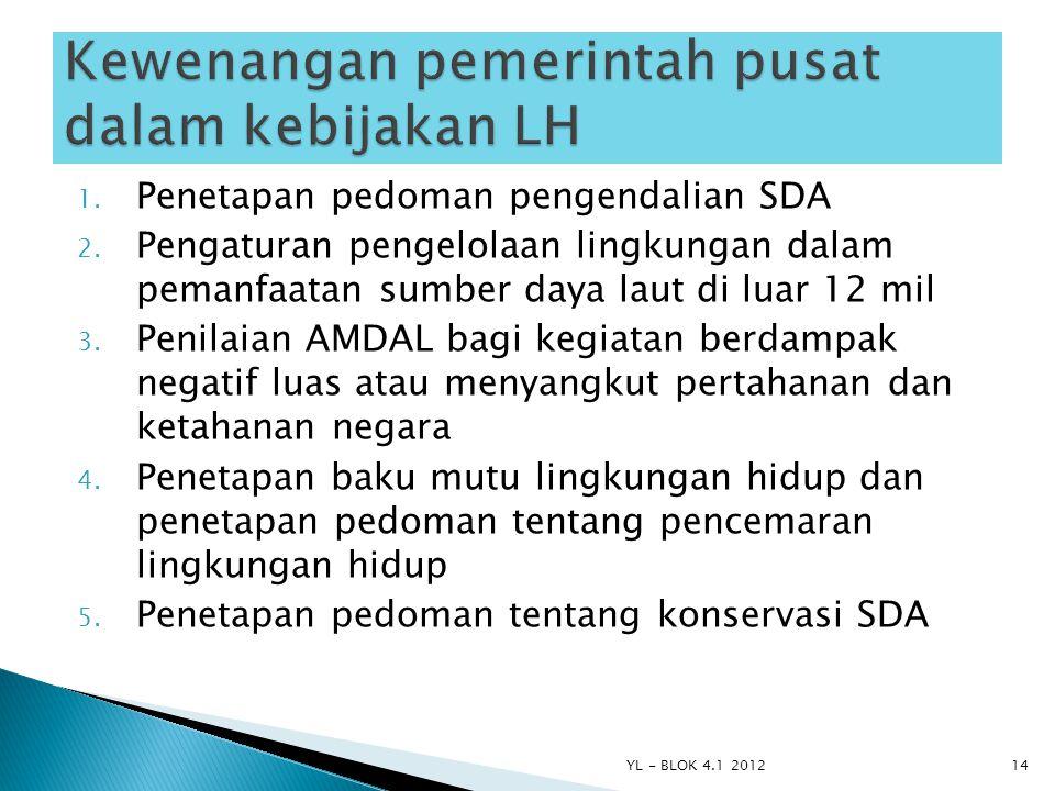 1. Penetapan pedoman pengendalian SDA 2. Pengaturan pengelolaan lingkungan dalam pemanfaatan sumber daya laut di luar 12 mil 3. Penilaian AMDAL bagi k