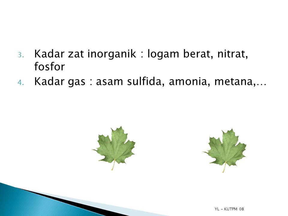 YL - KUTPM 08 3. Kadar zat inorganik : logam berat, nitrat, fosfor 4. Kadar gas : asam sulfida, amonia, metana,…