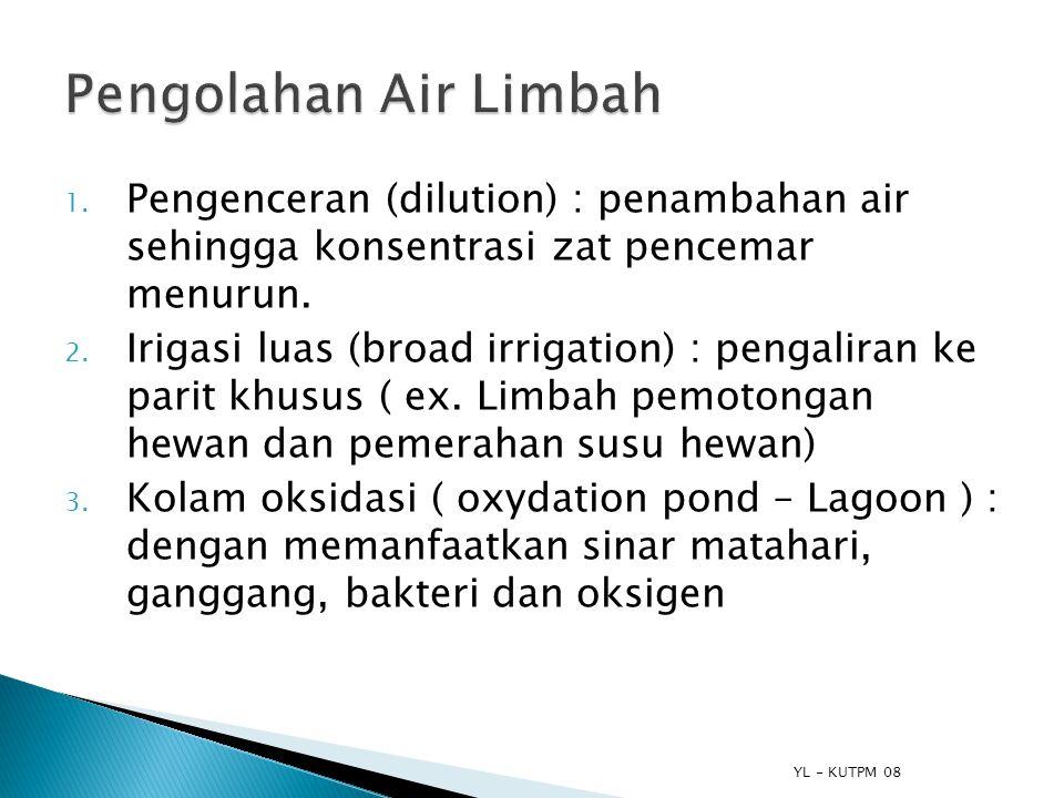 YL - KUTPM 08 1. Pengenceran (dilution) : penambahan air sehingga konsentrasi zat pencemar menurun. 2. Irigasi luas (broad irrigation) : pengaliran ke