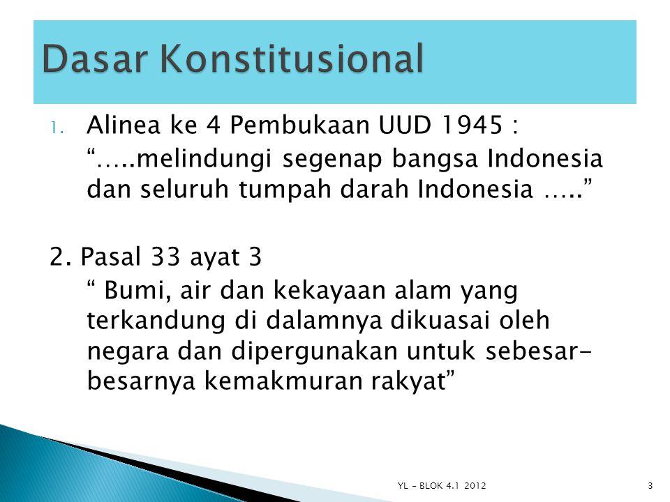 "1. Alinea ke 4 Pembukaan UUD 1945 : ""…..melindungi segenap bangsa Indonesia dan seluruh tumpah darah Indonesia ….."" 2. Pasal 33 ayat 3 "" Bumi, air dan"