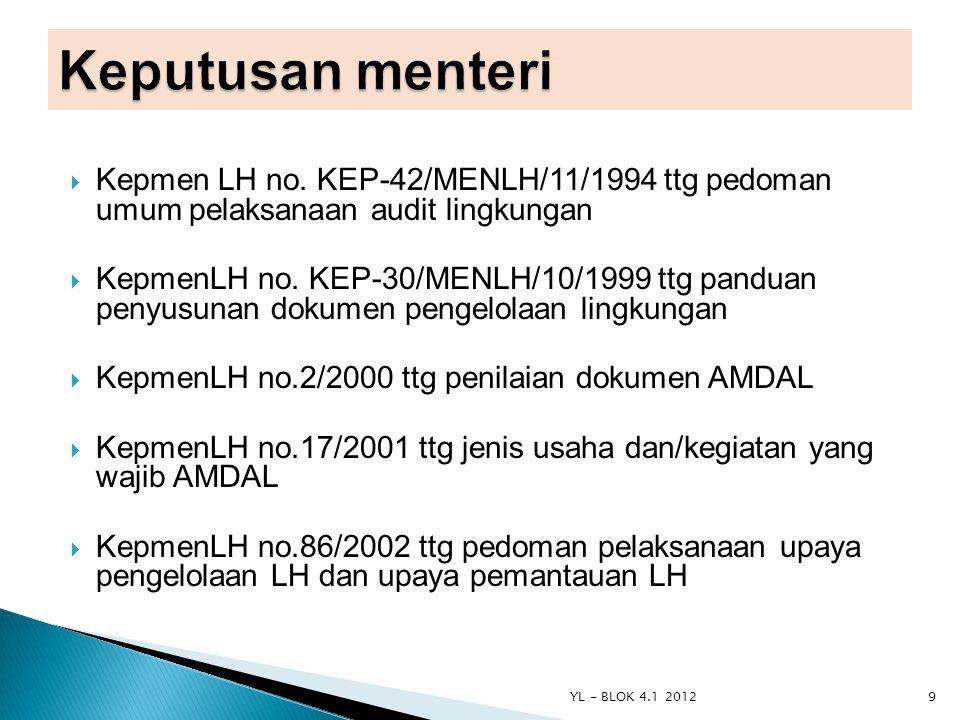  Kepmen LH no. KEP-42/MENLH/11/1994 ttg pedoman umum pelaksanaan audit lingkungan  KepmenLH no. KEP-30/MENLH/10/1999 ttg panduan penyusunan dokumen