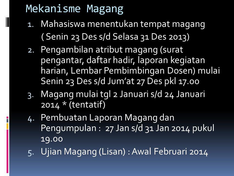 Mekanisme Magang 1. Mahasiswa menentukan tempat magang ( Senin 23 Des s/d Selasa 31 Des 2013) 2. Pengambilan atribut magang (surat pengantar, daftar h