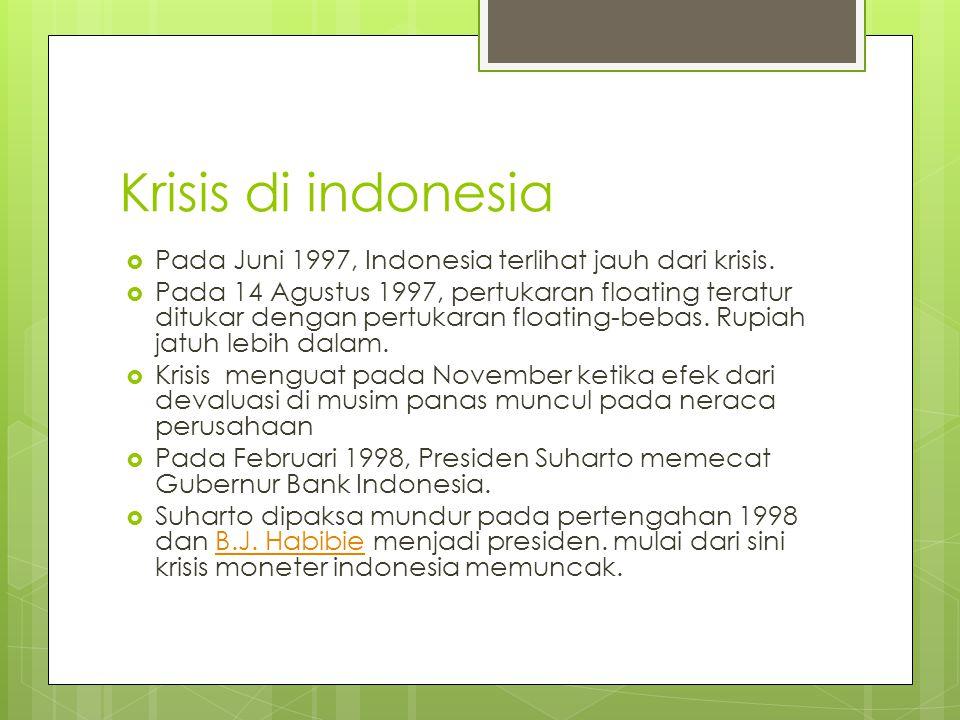 Penyebab Krisis Moneter di Indonesia  Anwar Nasution melihat besarnya defisit neraca berjalan dan utang luar negeri, ditambah dengan lemahnya sistim perbankan nasional sebagai akar dari terjadinya krisis finansial.