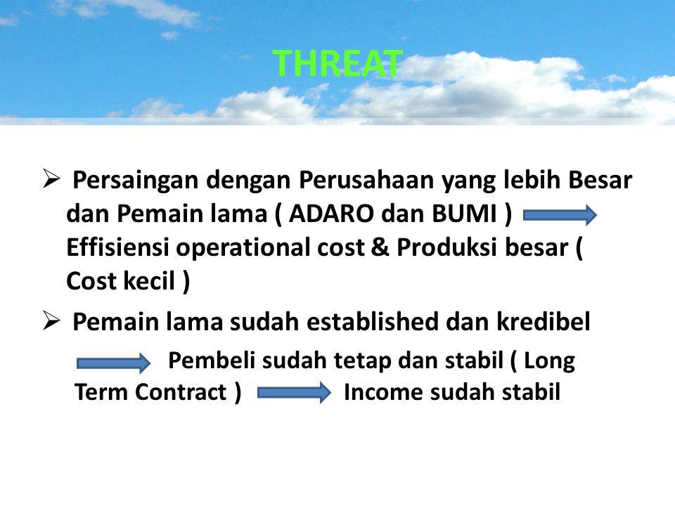  Persaingan dengan Perusahaan yang lebih Besar dan Pemain lama ( ADARO dan BUMI ) Effisiensi operational cost & Produksi besar ( Cost kecil )  Pemai