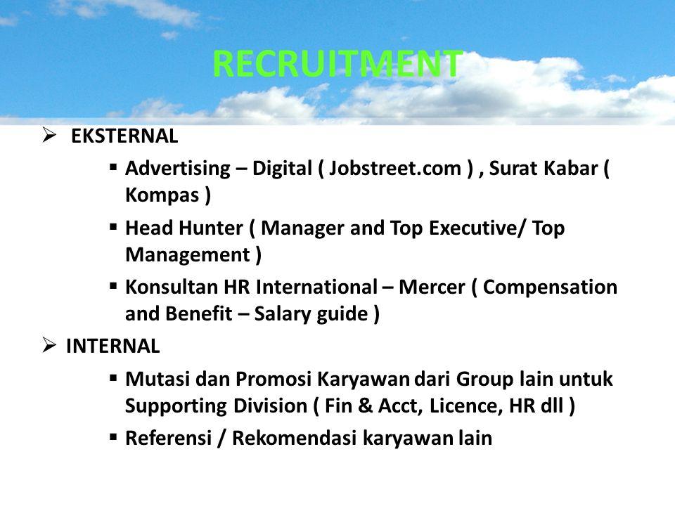  EKSTERNAL  Advertising – Digital ( Jobstreet.com ), Surat Kabar ( Kompas )  Head Hunter ( Manager and Top Executive/ Top Management )  Konsultan