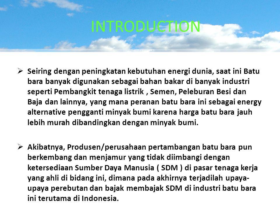 INTRODUCTION  Seiring dengan peningkatan kebutuhan energi dunia, saat ini Batu bara banyak digunakan sebagai bahan bakar di banyak industri seperti P