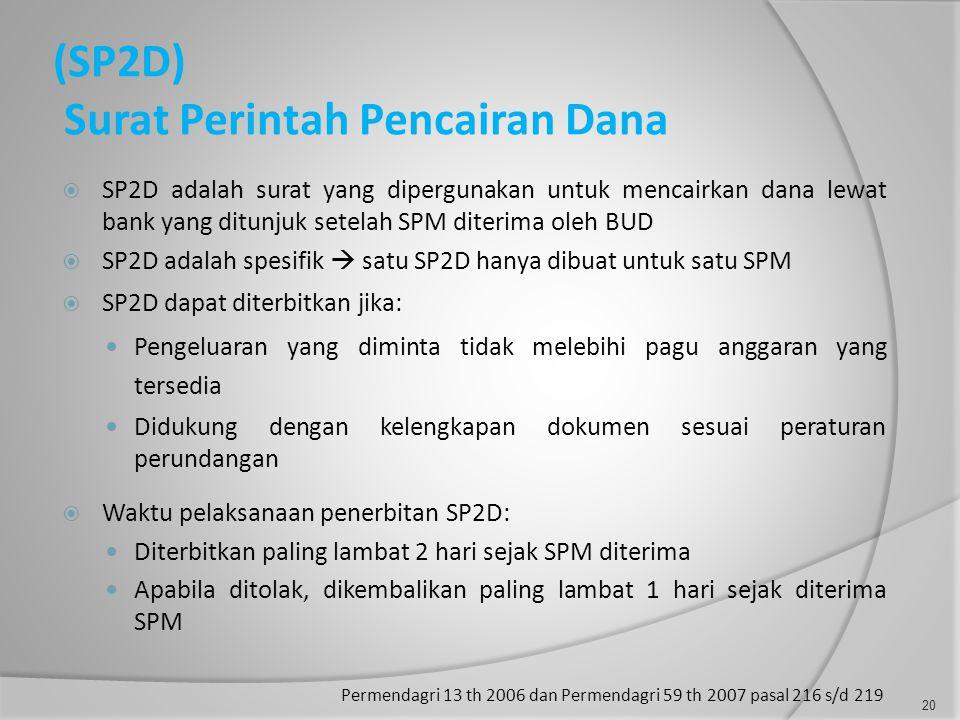 (SP2D) Surat Perintah Pencairan Dana  SP2D adalah surat yang dipergunakan untuk mencairkan dana lewat bank yang ditunjuk setelah SPM diterima oleh BUD  SP2D adalah spesifik  satu SP2D hanya dibuat untuk satu SPM  SP2D dapat diterbitkan jika:  Pengeluaran yang diminta tidak melebihi pagu anggaran yang tersedia  Didukung dengan kelengkapan dokumen sesuai peraturan perundangan  Waktu pelaksanaan penerbitan SP2D:  Diterbitkan paling lambat 2 hari sejak SPM diterima  Apabila ditolak, dikembalikan paling lambat 1 hari sejak diterima SPM Permendagri 13 th 2006 dan Permendagri 59 th 2007 pasal 216 s/d 219 20