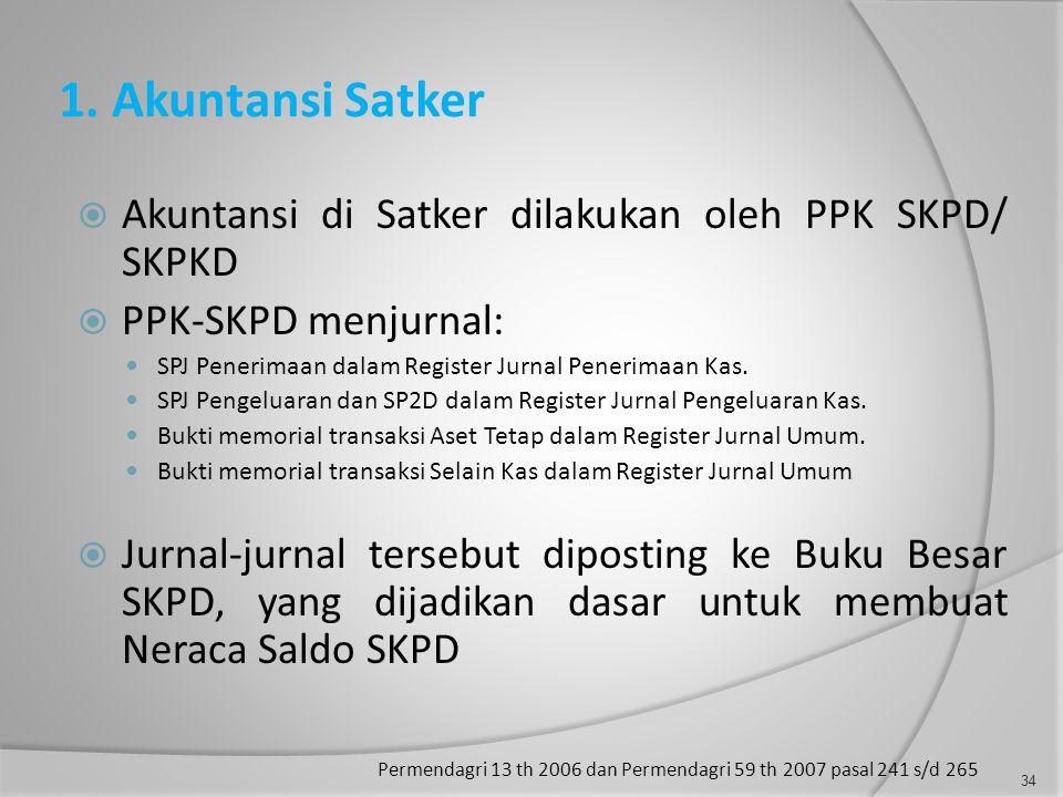 1. Akuntansi Satker  Akuntansi di Satker dilakukan oleh PPK SKPD/ SKPKD  PPK-SKPD menjurnal:  SPJ Penerimaan dalam Register Jurnal Penerimaan Kas.