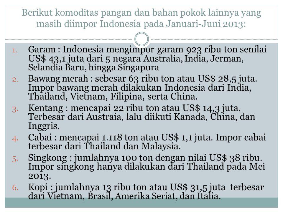 Berikut komoditas pangan dan bahan pokok lainnya yang masih diimpor Indonesia pada Januari-Juni 2013: 1. Garam : Indonesia mengimpor garam 923 ribu to
