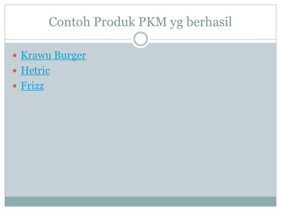 Contoh Produk PKM yg berhasil  Krawu Burger Krawu Burger  Hetric Hetric  Frizz Frizz
