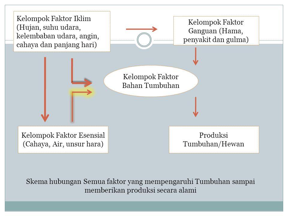 Kelompok Faktor Ganguan (Hama, penyakit dan gulma) Kelompok Faktor Esensial (Cahaya, Air, unsur hara) Produksi Tumbuhan/Hewan Kelompok Faktor Bahan Tu