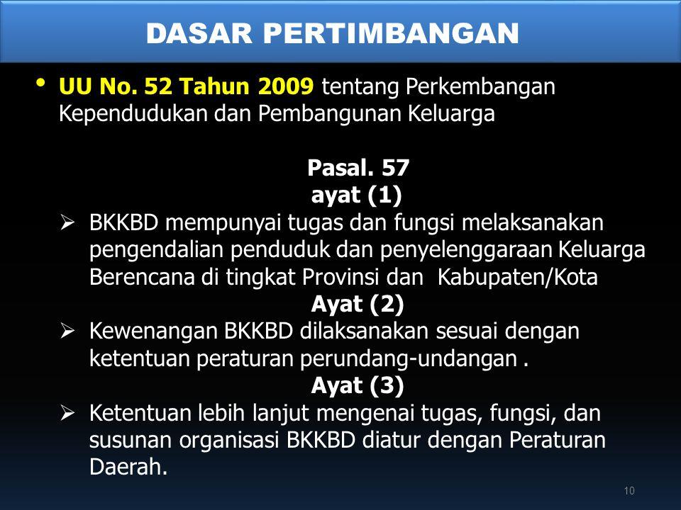 • UU No. 52 Tahun 2009 tentang Perkembangan Kependudukan dan Pembangunan Keluarga Pasal. 57 ayat (1)  BKKBD mempunyai tugas dan fungsi melaksanakan p