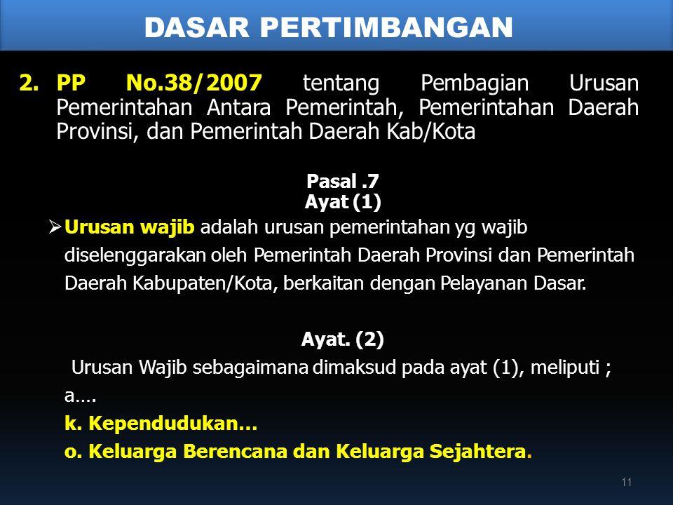 2.PP No.38/2007 tentang Pembagian Urusan Pemerintahan Antara Pemerintah, Pemerintahan Daerah Provinsi, dan Pemerintah Daerah Kab/Kota Pasal.7 Ayat (1)